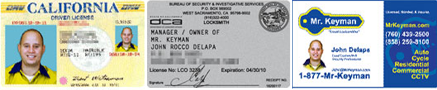 Drivers License - Locksmith License - Business Card